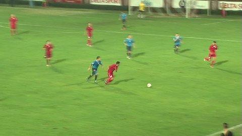 KRUSEVAC, SERBIA - SEPTEMBER 8: Football match between FC Napredak and FC Bezanija on September 8, 2012 in Krusevac, Serbia.