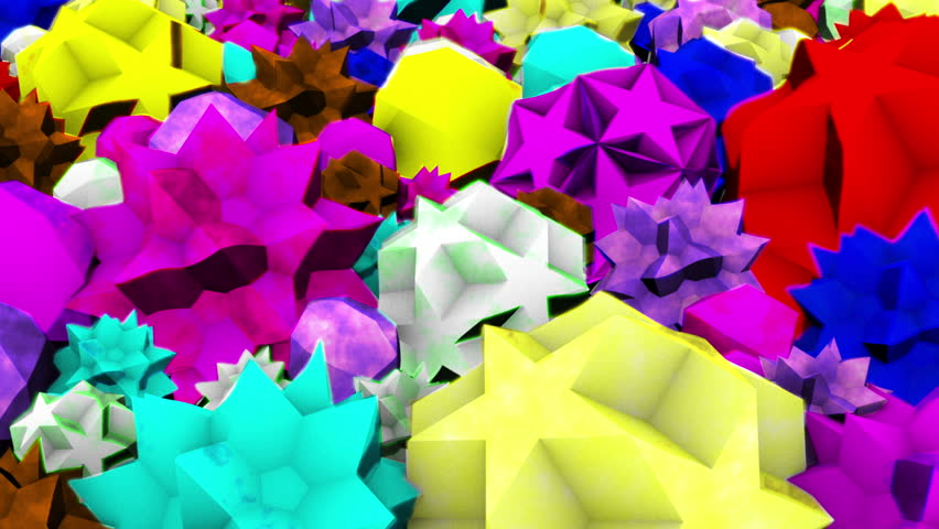 Shaking, pulsating and throbbing geometric shapes of all colors    Shutterstock HD Video #3675350