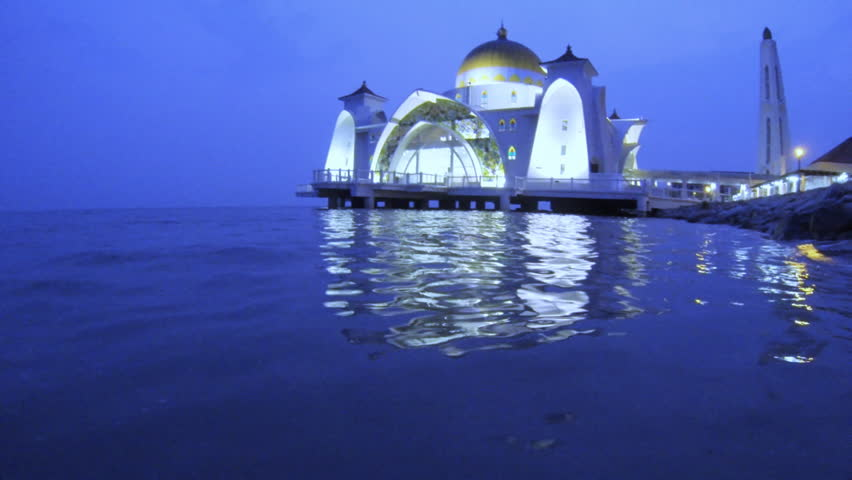 water level view of  Selat Mosque in Malacca island Malaysia also known as Malacca Straits mosque
