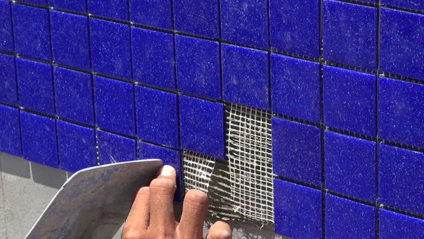 Pool Tile Installation, Laborers Hands Stock Footage Video (100%  Royalty-free) 3690770 | Shutterstock