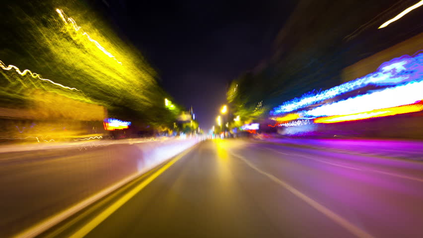 frenetic blast through the streets,time lapse