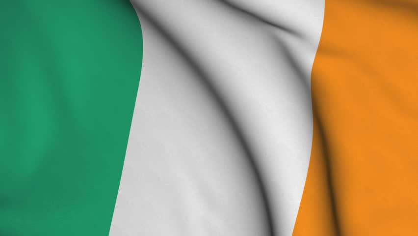 Seamless looping high definition video closeup of the Irish flag with accurate design and colors and a detailed fabric texture.