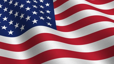USA flag waving in the wind - highly detailed fabric texture - perfect background animation for news-room shots - seamless looping