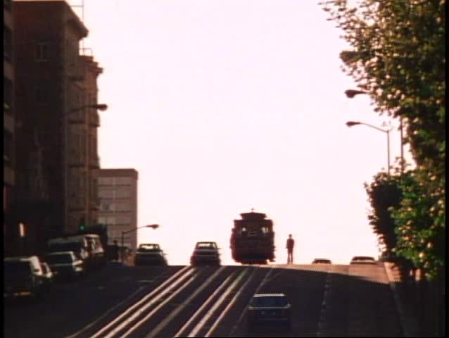 San Francisco, 1970's, Nob Hill, California Street, cable car, wide distant shot
