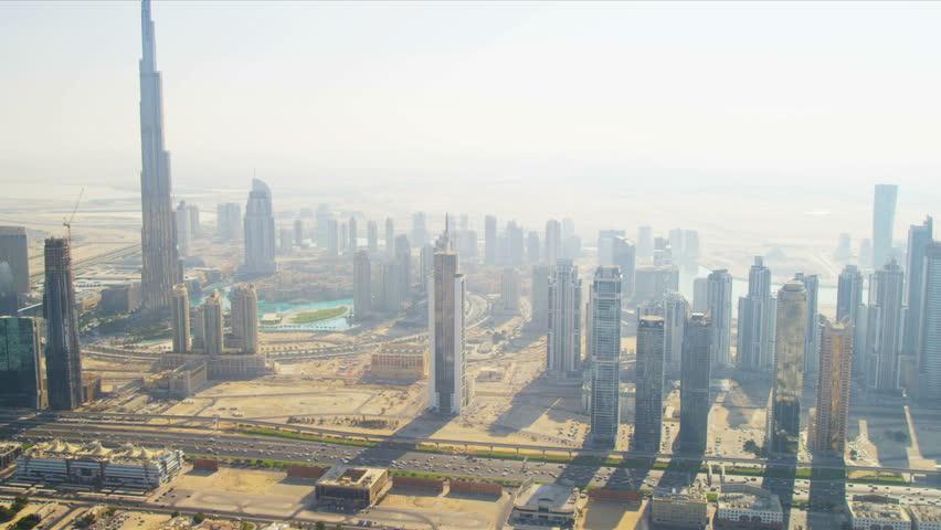 Hd00 23aerial View Of Downtown Dubai Skyline Burj Khalifa And