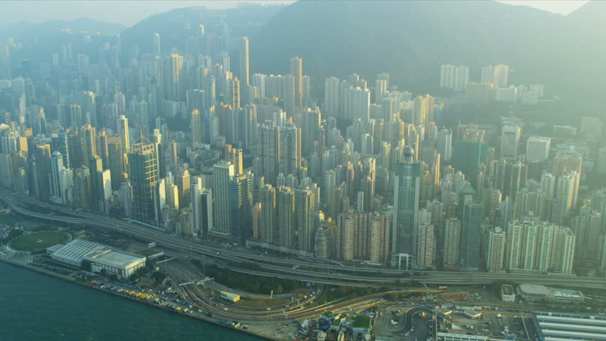Aerial view Hong Kong central Victoria Peak and waterfront, China, Asia, RED EPIC