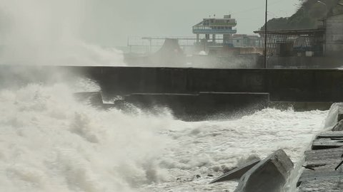 Storm on the city embankment