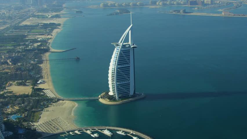 DUBAI, UAE - November 18, 2012: Aerial View Dubai Coastline, Burj Al Arab, Stock Footage Video 3745997 | Shutterstock