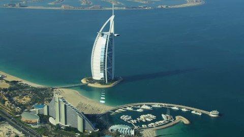 DUBAI, UAE - November 18, 2012: Aerial view Dubai coastline, Burj Al Arab, Jumeirah Beach Hotel daytime