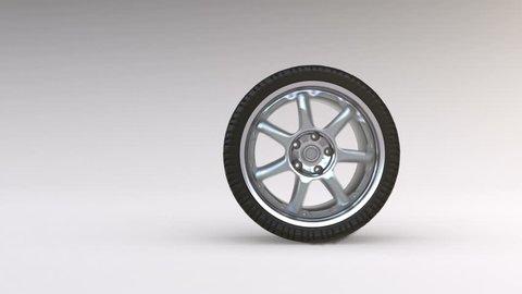 Tire Burnout. Smoke on white background.
