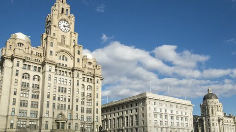 Timelapse of Liver Building, Cunard and Port Authority buildings at Liverpool Pier Head, England