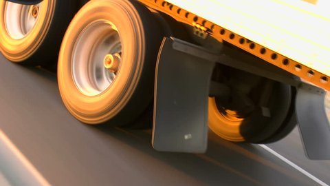 Truck tires, close up, ride open highway. 1080p