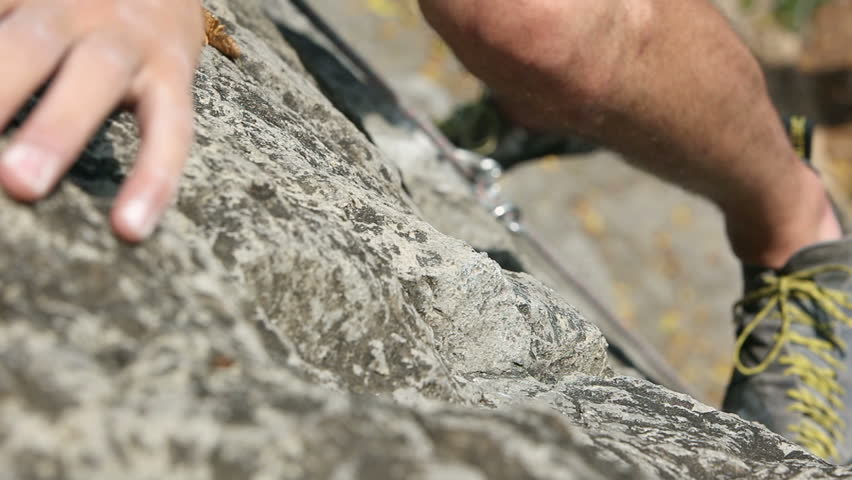 Details of a rock climbing in nature