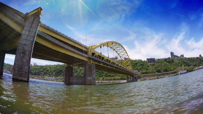 An extreme fish eye view of the Fort Pitt Bridge in downtown Pittsburgh,