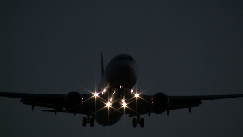 Stock Video Of Airplane Flying Overhead At Night