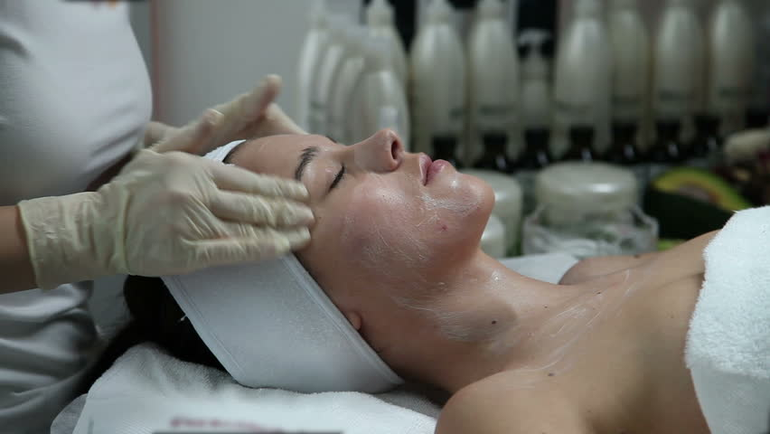 Young woman having a beauty treatment in a spa