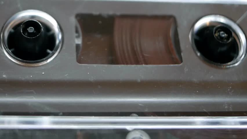 Dusty cassette tape close up