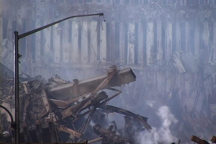 NEW YORK CITY - SEPTEMBER 28, 2001: World Trade Center rubble with smoke rising.