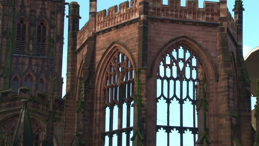 The city centre Cathedral ruins of St Michael's in Coventry, damaged by the Luftwaffe in the second world war.
