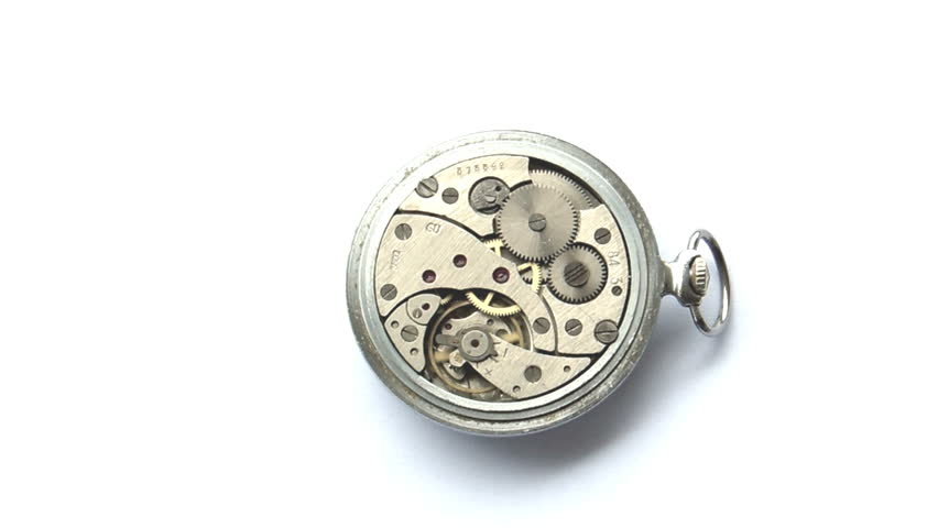 Backview of a vintage russian clockwork in a silver pocket watch.