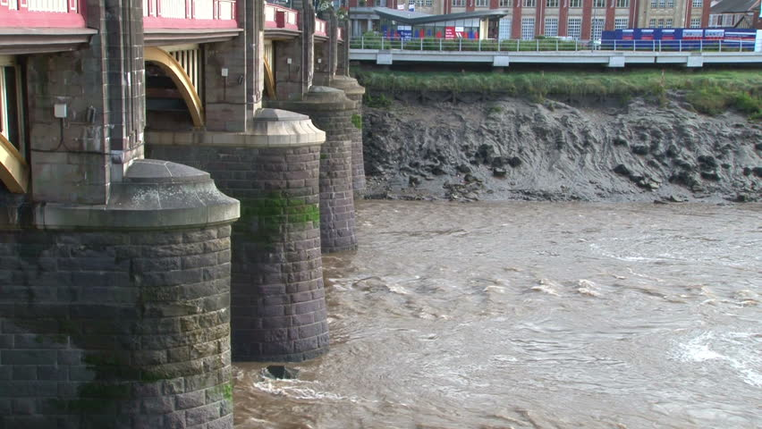 The large reinforced brick pillars to withstand the large tidal rise and strong currents of the muddy river Usk.