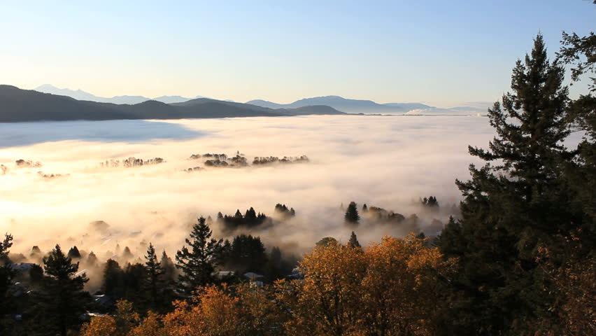 Fraser Valley Fog, British Columbia. A blanket of fog covers the Fraser Valley east of Vancouver. British Columbia, Canada.