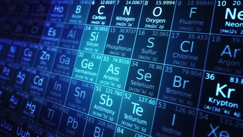 Periodic table of elements animation. Loopable. Blue. Two colors to choose.  SEE MORE COLOR OPTIONS IN MY PORTFOLIO.