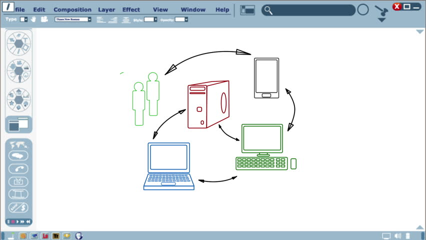 Animation of a cloud computing network interactive whiteboard illustration. | Shutterstock HD Video #3925370