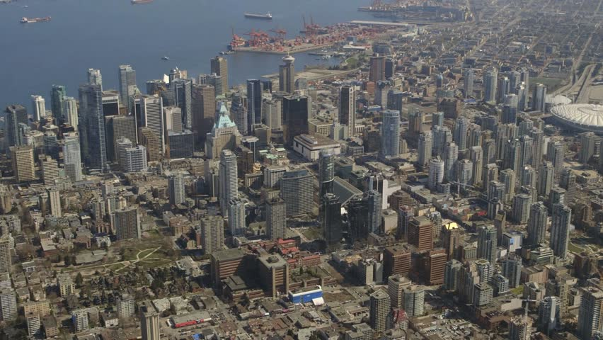 An extended aerial view of downtown Vancouver, British Columbia, Canada. | Shutterstock HD Video #3932072