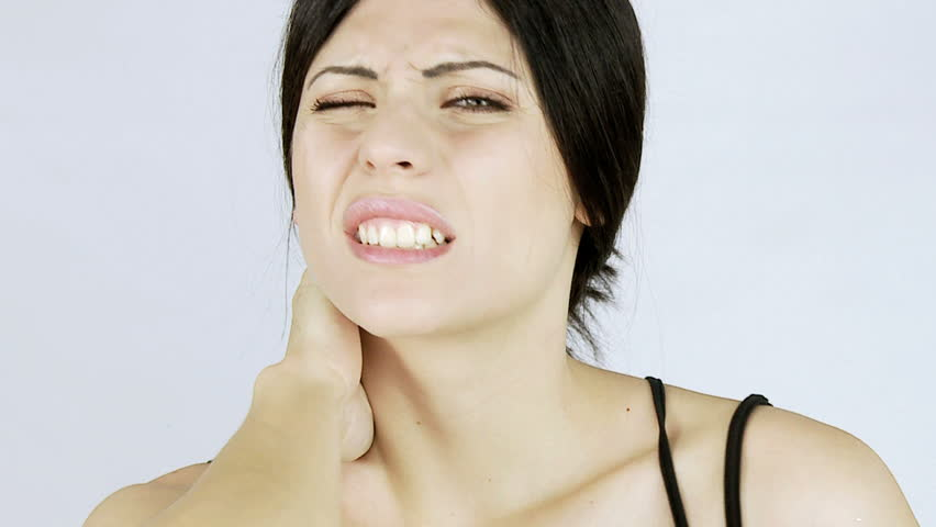 Woman feeling strong back and neck pain