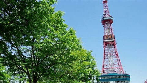 SAPPORO, JAPAN - JUNE. 1 : Sapporo TV Tower and fresh green leaves on June 1, 2013 in Sapporo, Hokkaido, japan.The Tower is located at Sapporo Odori Park.