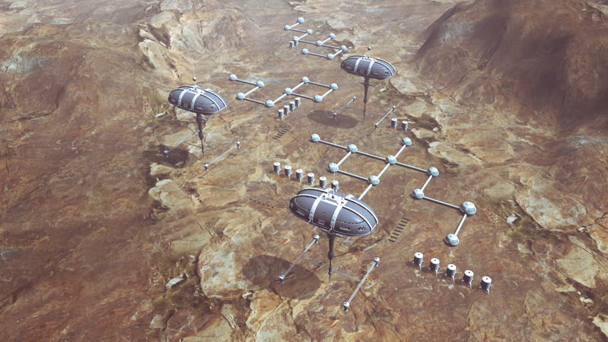 Animation of space colony on planet Mars