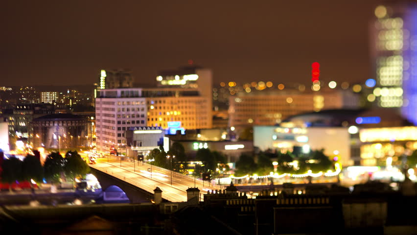 tilt shift Timelapse shot of the southbank area of london at night from a high vantage point