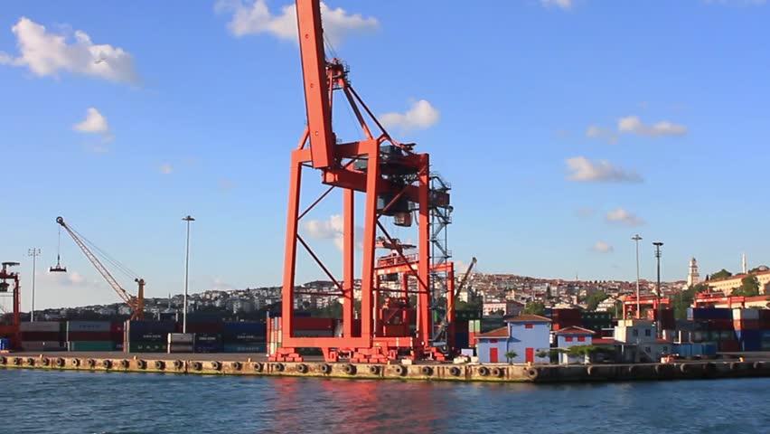 Ship to shore gantry crane in port.