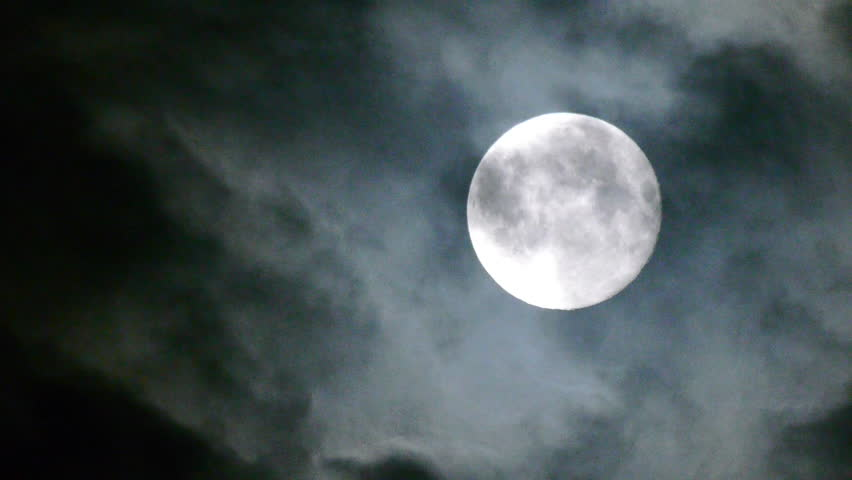 Full moon at night with cloud real no CG