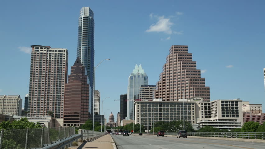 AUSTIN, TEXAS/USA - MAY 10: Traffic crosses S Congress Avenue bridge with Austin skyline in background on May 10, 2013 in Austin.