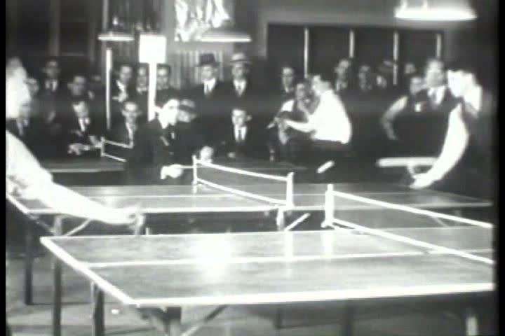 1920s - Black and white footage of a ping pong tournament in the 1920s