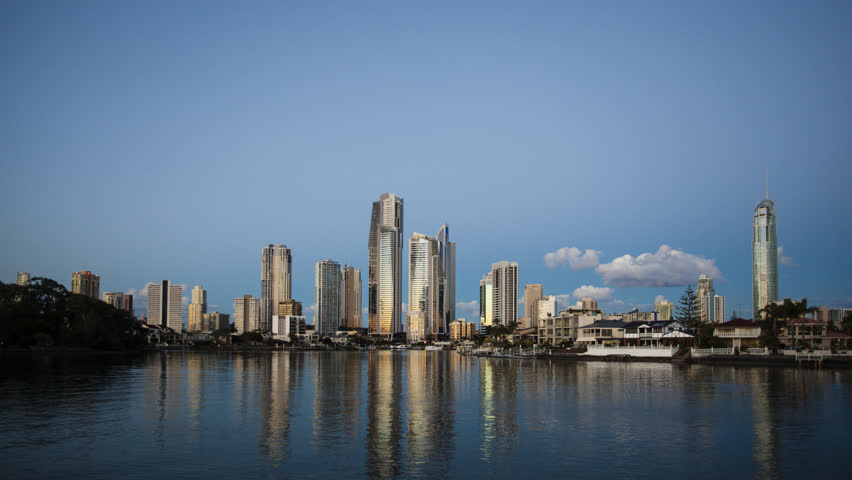 Time-lapse of sunset and full moon over Surfers Paradise skyline, Queensland, Australia.
