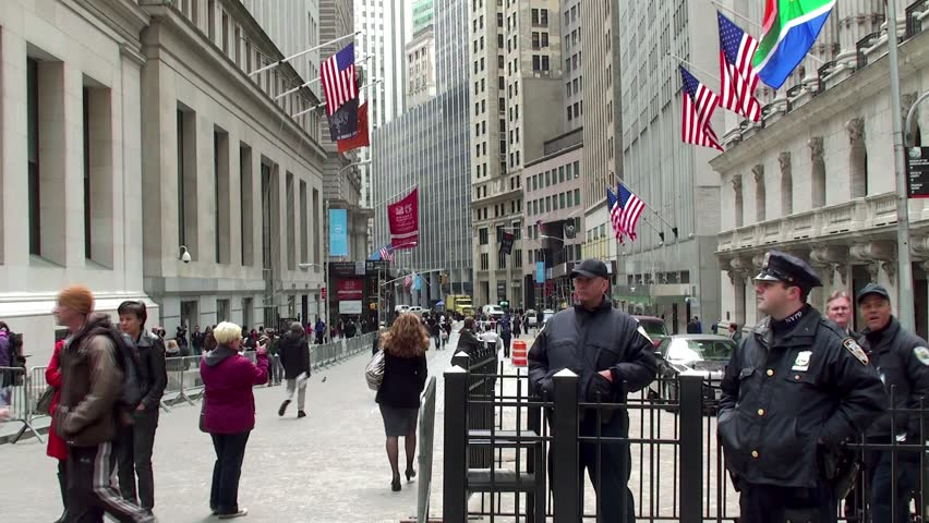 NEW YORK CITY - APRIL 21: The police at the entrance of the New York Stock Exchange April 21, 2012 in NYC, New York, USA.
