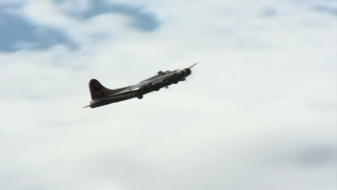 B17 Flying Fortress WWII bomber in flight.
