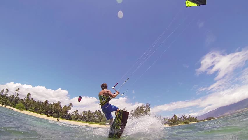 Kite Boarding, Fun in the ocean, Extreme Sport HD Video