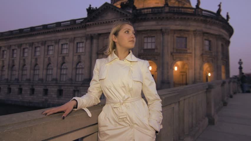 Blond women outside at night fall  | Shutterstock HD Video #4175410