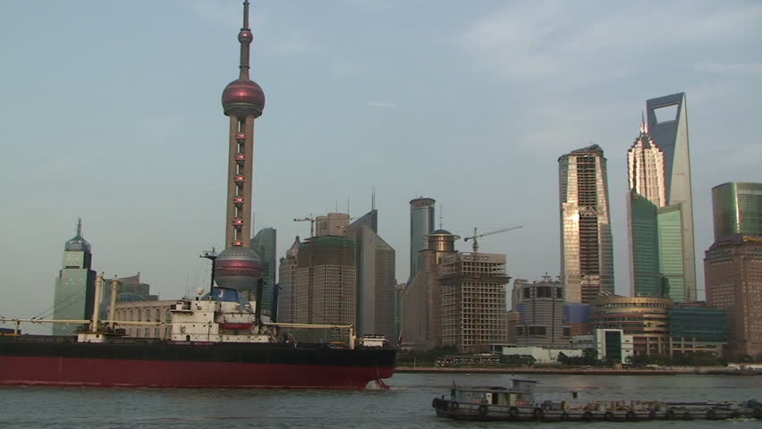 Shanghai, March 2009: Large ship sails through downtown Shanghai part 4