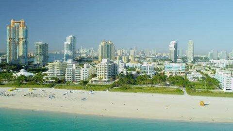 Aerial view condominiums South Pointe Park Miami Beach, Biscayne Bay, Miami, Florida, USA