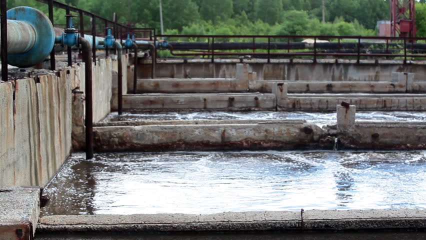Industrial volumes with wastewater in water treatment plant for cleaning