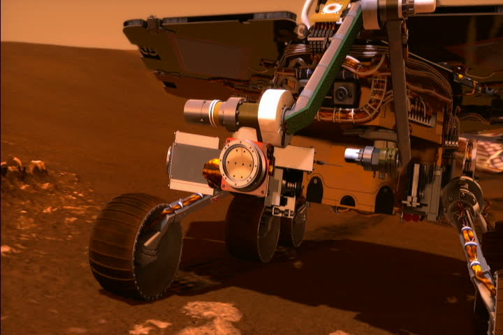 Zoom over Mars landscape to rover Opportunity doing spectrometer test in Eagle Crater. Animation.