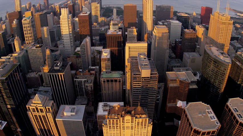 Aerial sunset cityscape view Chicago skyline, Chicago, Illinois, USA, shot on RED EPIC | Shutterstock HD Video #4247321