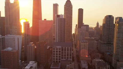 Aerial sunrise cityscape view of Chicago skyscrapers, John Hancock Tower, Lake Michigan, Chicago, Illinois, USA, shot on RED EPIC