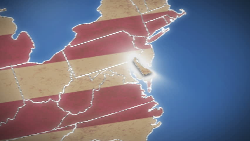 Delaware DE Red State Map Name D Animation Stock Footage Video - Us map delaware state