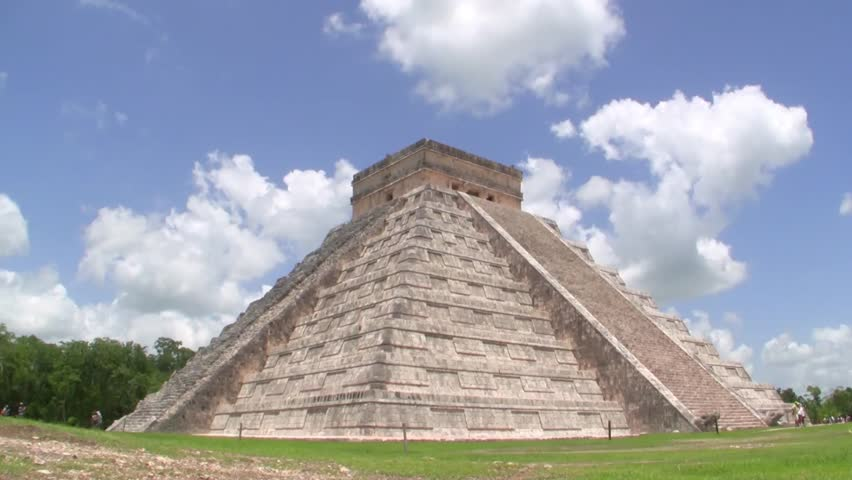 YUCATAN, Mexico - June 25: A time lapse image of a group of tourists visiting Chichen Itza, a World Heritage Site on June 25, 2013 in Yucatan, Mexico
